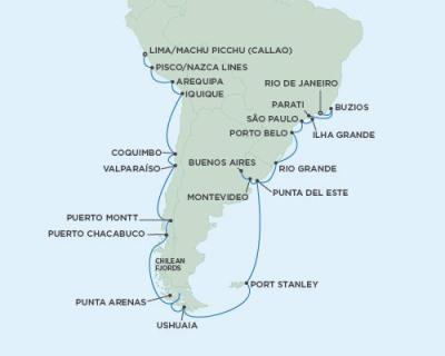 LUXURY CRUISE - Balconies-Suites Seven Seas Mariner - RSSC February 4 March 8 2020 Cruises Callao, Peru to Rio De Janeiro, Brazil