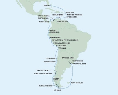 Singles Cruise - Balconies-Suites Seven Seas Mariner - RSSC January 17 February 25 2020 Cruises Miami, FL, United States to Buenos Aires, Argentina