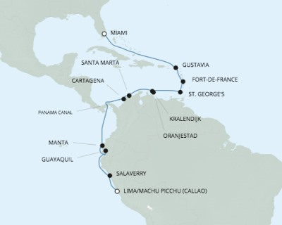 LUXURY CRUISES - Penthouse, Veranda, Balconies, Windows and Suites Seven Seas Mariner - RSSC January 17 February 4 2020 Cruises Miami, FL, United States to Callao, Peru
