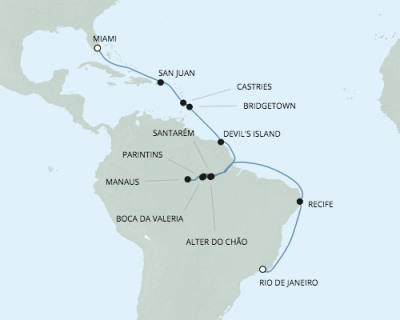LUXURY CRUISE - Balconies-Suites Seven Seas Mariner - RSSC March 8-29 2020 Cruises Rio De Janeiro, Brazil to Miami, FL, United States