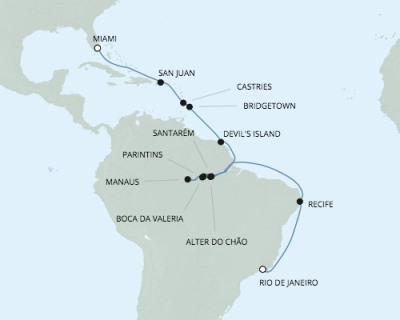 Deluxe Honeymoon Cruises Seven Seas Mariner - RSSC March 8-29 2021 Rio De Janeiro, Brazil to Miami, FL, United States