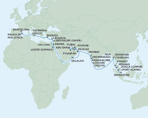 Singles Cruise - Balconies-Suites Seven Seas Voyager April 12 May 23 2019 Singapore to Barcelona, Spain