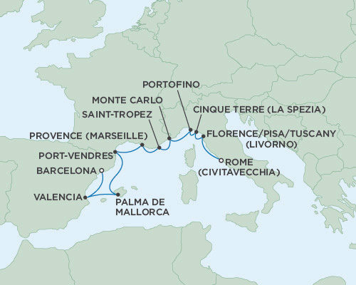 Radisson Luxury Cruises -  Navigator April 13-23 2021 Barcelona, Spain to Rome (Civitavecchia), Italy