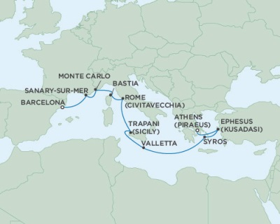 Singles Cruise - Balconies-Suites Seven Seas Navigator August 16-26 2019 Barcelona, Spain to Athens (Piraeus), Greece