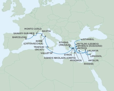 SINGLE Cruise - Balconies-Suites Seven Seas Navigator August 16 September 5 2019 Barcelona, Spain to Istanbul, Turkey