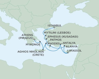 SINGLE Cruise - Balconies-Suites Seven Seas Navigator August 26 September 5 2019 Athens (Piraeus), Greece to Istanbul, Turkey