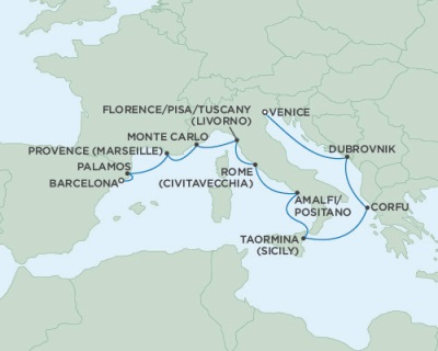 Singles Cruise - Balconies-Suites Seven Seas Navigator August 6-16 2019 Venice, Italy to Barcelona, Spain