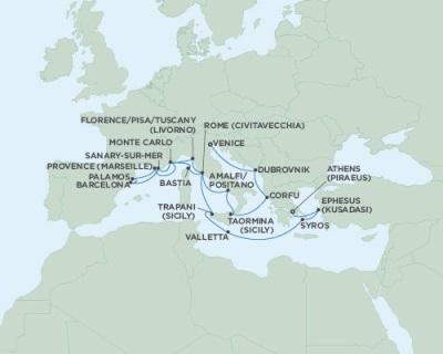 Singles Cruise - Balconies-Suites Seven Seas Navigator August 6-26 2019 Venice, Italy to Athens (Piraeus), Greece