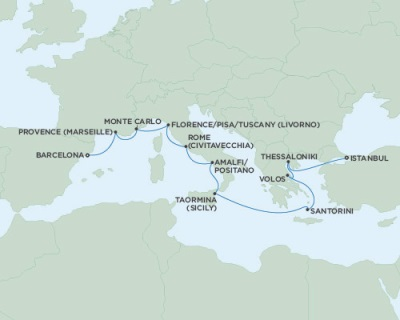 SINGLE Cruise - Balconies-Suites Seven Seas Navigator July 13-25 2019 Barcelona, Spain to Istanbul, Turkey