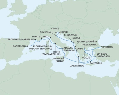 Singles Cruise - Balconies-Suites Seven Seas Navigator July 13 August 6 2019 Barcelona, Spain to Venice, Italy