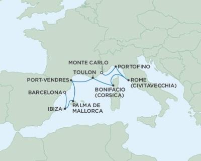 Singles Cruise - Balconies-Suites Seven Seas Navigator July 5-13 2019 Monte Carlo, Monaco to Barcelona, Spain