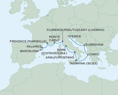 Singles Cruise - Balconies-Suites Seven Seas Navigator May 3-13 2019 Venice, Italy to Barcelona, Spain
