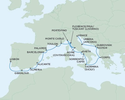 Singles Cruise - Balconies-Suites Seven Seas Navigator October 3-23 2019 Venice, Italy to Lisbon, Portugal