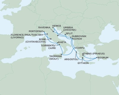 SINGLE Cruise - Balconies-Suites Seven Seas Navigator September 26 October 13 2019 Athens (Piraeus), Greece to Rome (Civitavecchia), Italy