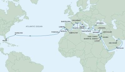Regent/Radisson Luxury Cruises  Navigator - RSSC April 3 May 13 2022 Cruises Abu Dhabi, United Arab Emirates to Miami, FL United States