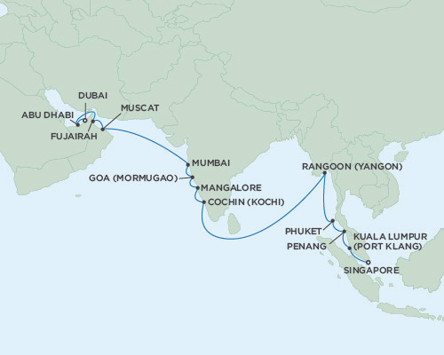 Singles Cruise - Balconies-Suites Seven Seas Voyager April 12 May 2 2019 Singapore to Dubai, United Arab Emirates