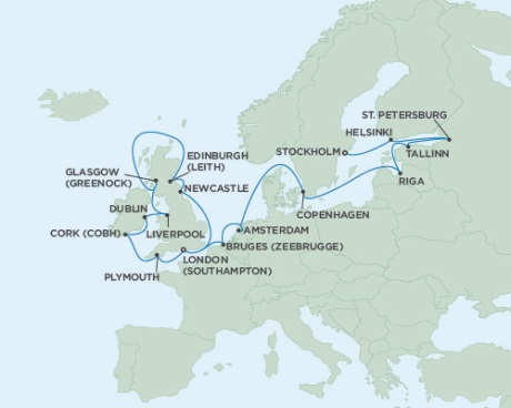 SINGLE Cruise - Balconies-Suites Seven Seas Voyager August 14 September 5 2019 London (Southampton), England to Stockholm, Sweden