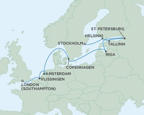 SINGLE Cruise - Balconies-Suites Seven Seas Voyager August 2-14 2019 Stockholm, Sweden to London (Southampton), England