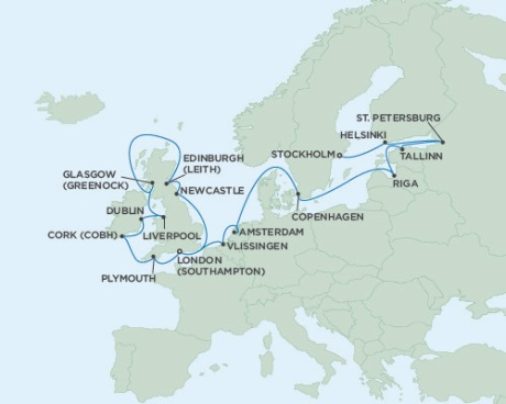 SINGLE Cruise - Balconies-Suites Seven Seas Voyager August 2-24 2019 Stockholm, Sweden to London (Southampton), England