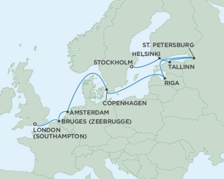 LUXURY CRUISE - Balconies-Suites Seven Seas Voyager August 24 September 5 2019 London (Southampton), England to Stockholm, Sweden