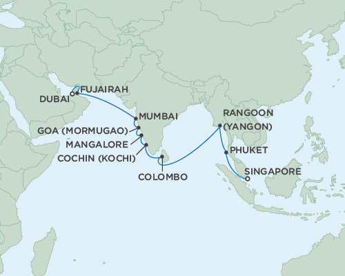 Seven Seas Voyager December 2-22 2016 Dubai, United Arab Emirates to Singapore