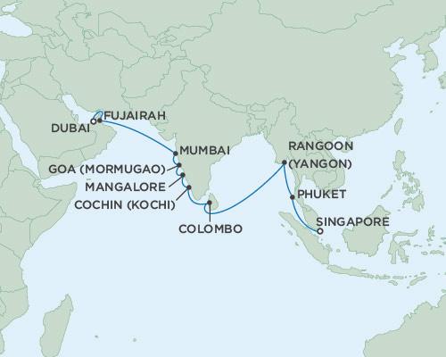 SINGLE Cruise - Balconies-Suites Seven Seas Voyager December 2-22 2019 Dubai, United Arab Emirates to Singapore