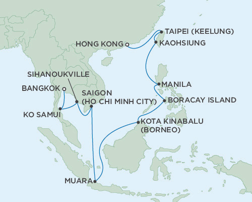 Singles Cruise - Balconies-Suites Seven Seas Navigator February 3-20 2019 Bangkok (Laem Chabang), Thailand To Hong Kong, China