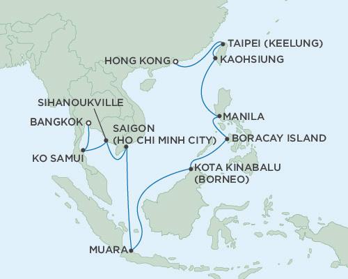 Radisson Luxury Cruises -  Navigator February 3-20 2021 Bangkok (Laem Chabang), Thailand To Hong Kong, China