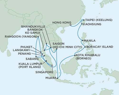 Singles Cruise - Balconies-Suites Seven Seas Voayger January 18 February 20 2019 Singapore to Hong Kong, China