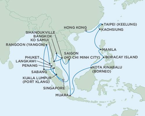 SINGLE Cruise - Balconies-Suites Seven Seas Voayger January 18 February 20 2019 Singapore to Hong Kong, China