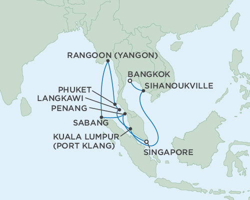 LUXURY CRUISE - Balconies-Suites Seven Seas Voyager January 18 February 3 2019 Singapore To Bangkok (Laem ChaBang), Thaïland