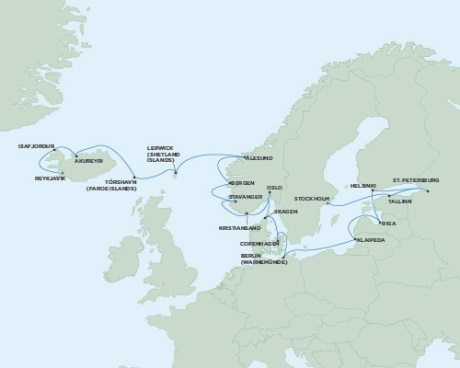 SINGLE Cruise - Balconies-Suites Seven Seas Voyager July 11 August 2 2019 Reykjavik, Iceland to Stockholm, Sweden