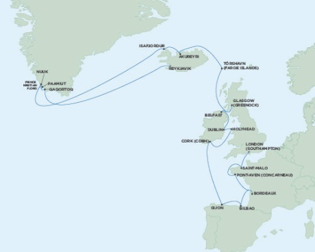 LUXURY CRUISE - Balconies-Suites Seven Seas Voyager June 16 July 11 2019 London (Southampton), England to Reykjavik, Iceland