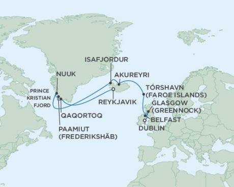 SINGLE Cruise - Balconies-Suites Seven Seas Voyager June 26 July 11 2019 Dublin, Ireland to Reykjavik, Iceland