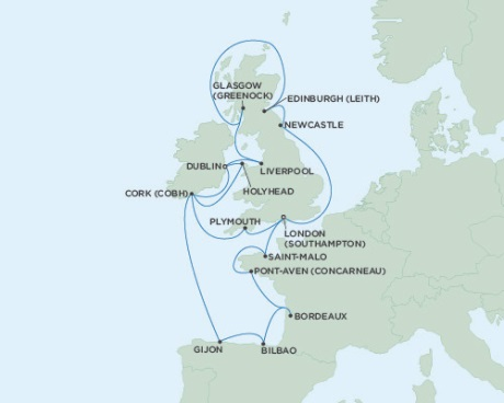 Singles Cruise - Balconies-Suites Seven Seas Voyager June 6-26 2019 London (Southampton), England to Dublin, Ireland