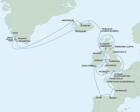 Singles Cruise - Balconies-Suites Seven Seas Voyager June 6 July 11 2019 London (Southampton), England to Reykjavik, Iceland