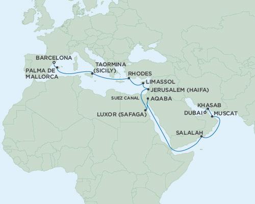 Radisson Luxury Cruises -  Voyager May 2-23 2021 Dubai, United Arab Emirates to Barcelona, Spain