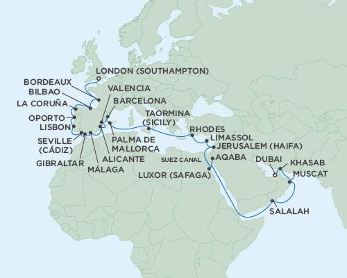 Radisson Luxury Cruises -  Voyager May 2 June 6 2021 Dubai, United Arab Emirates to London (Southampton), England