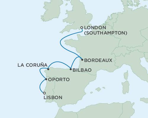 Radisson Luxury Cruises -  Voyager May 30 June 6 2021 Lisbon, Portugal to London (Southampton), England
