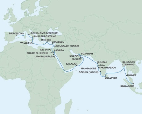 Singles Cruise - Balconies-Suites Seven Seas Voyager November 9 December 12 2019 Barcelona, Spain to Singapore