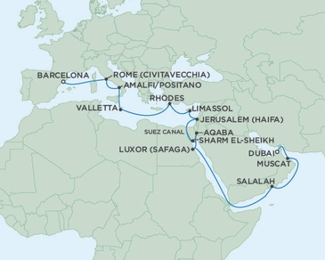 LUXURY CRUISE - Balconies-Suites Seven Seas Voyager November 9 December 2 2019 Barcelona, Spain to Dubai, United Arab Emirates