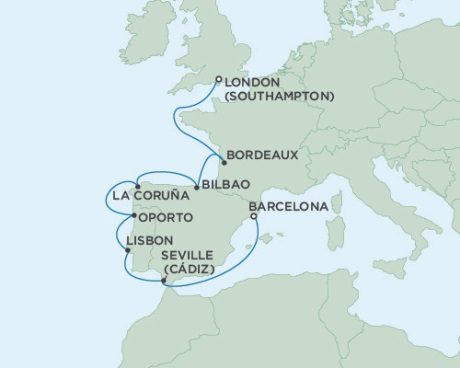 Singles Cruise - Balconies-Suites Seven Seas Voyager October 4-14 2019 London (Southampton), England to Barcelona, Spain