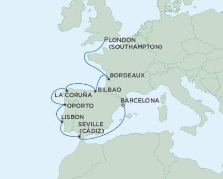 Singles Cruise - Balconies-Suites Seven Seas Voyager October 4-14 2019 London (Southampton), England to Barcelona, Spain