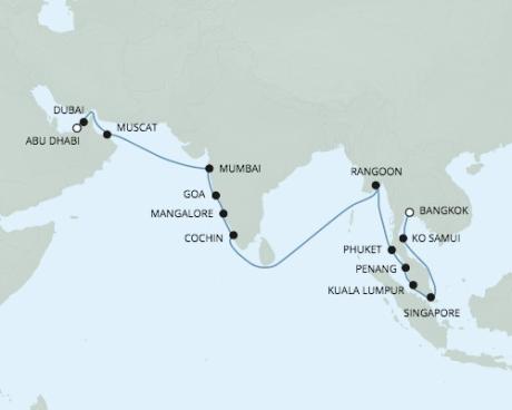 Singles Cruise - Balconies-Suites Seven Seas Voyager - RSSC April 8 May 2 2020 Cruises Laem Chabang, Thailand to Abu Dhabi, United Arab Emirates