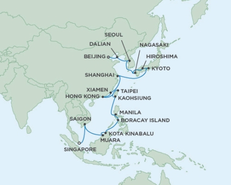 LUXURY WORLD CRUISES - Penthouse, Veranda, Balconies, Windows and Suites Seven Seas Voyager - RSSC February 20 March 23 2020 Cruises Singapore, Singapore to Tianjin, China