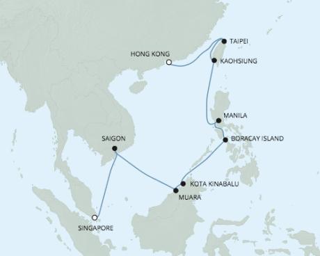 Luxury World Cruise SHIP BIDS - Seven Seas Voyager - RSSC February 20 March 7 2022 CRUISE SHIP Singapore, Singapore to Hong Kong, China