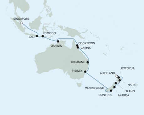 SINGLE Cruise - Balconies-Suites Seven Seas Voyager - RSSC January 26 February 20 2020 CRUISE Auckland, New Zealand to Singapore, Singapore