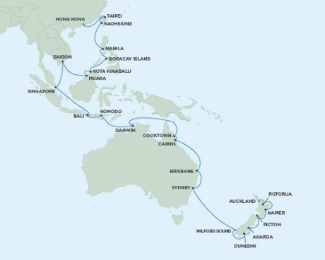 LUXURY WORLD CRUISES - Penthouse, Veranda, Balconies, Windows and Suites Seven Seas Voyager - RSSC January 26 March 7 2020 Cruises Auckland, New Zealand to Hong Kong, China