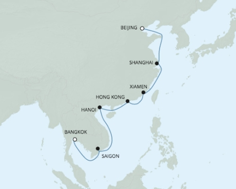 Luxury World Cruise SHIP BIDS - Seven Seas Voyager - RSSC March 23 April 8 2022 CRUISE SHIP Tianjin, China to Laem Chabang, Thailand