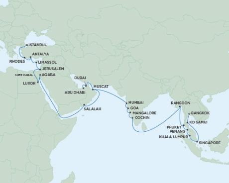 Luxury World Cruise SHIP BIDS - Seven Seas Voyager - RSSC May 2-22 2022 CRUISE SHIP Abu Dhabi, United Arab Emirates to Istanbul, Turkey